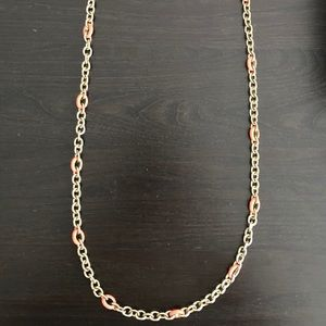J. Crew pink and gold chain necklace